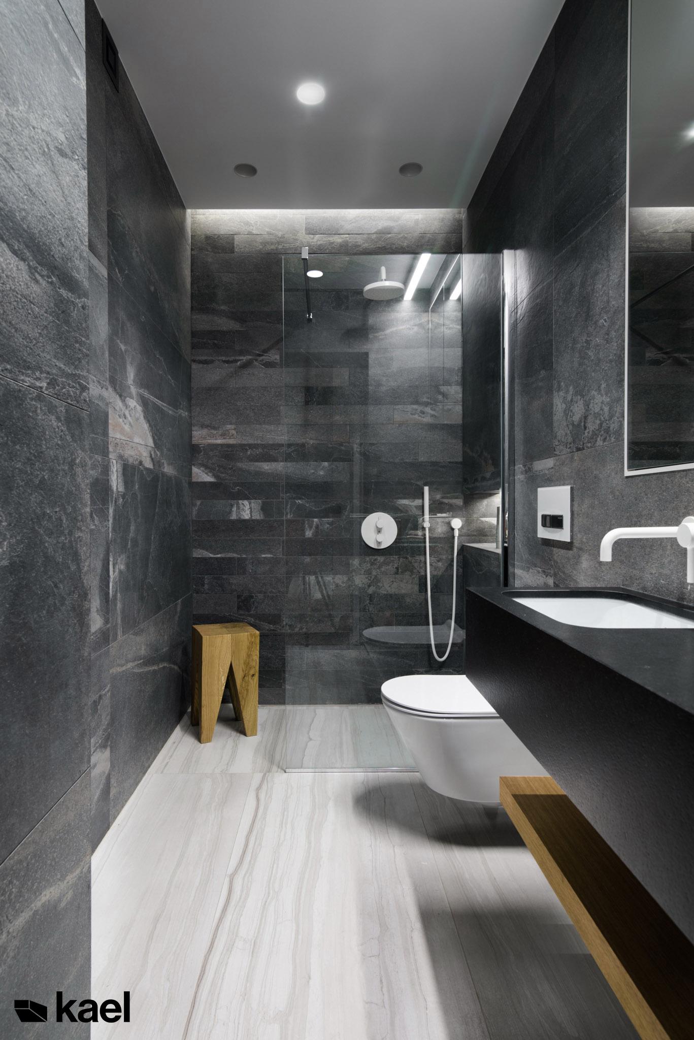 Kamienna minimalistyczna łazienka
