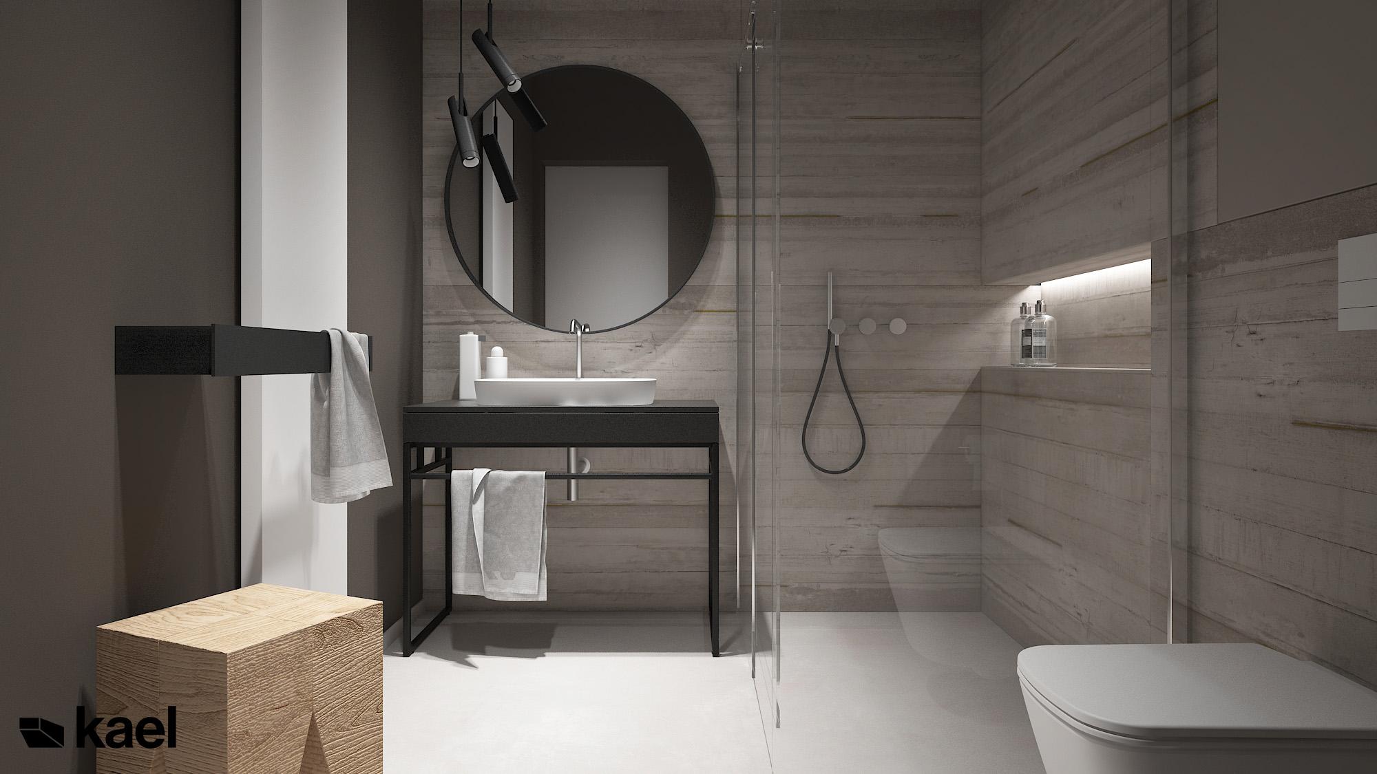 Łazienka z płytkami betonowymi