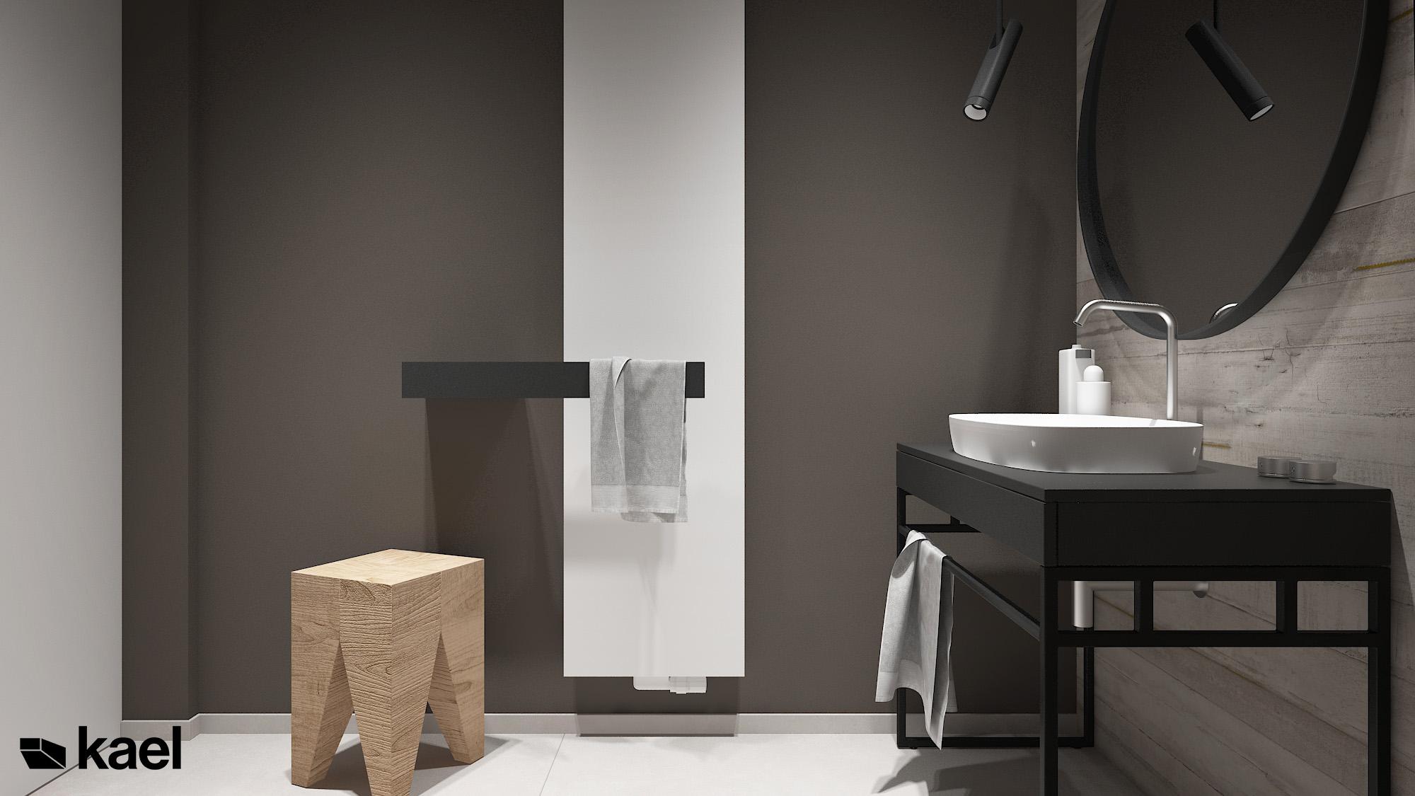 Łazienka z minimalistycznym kaloryferem