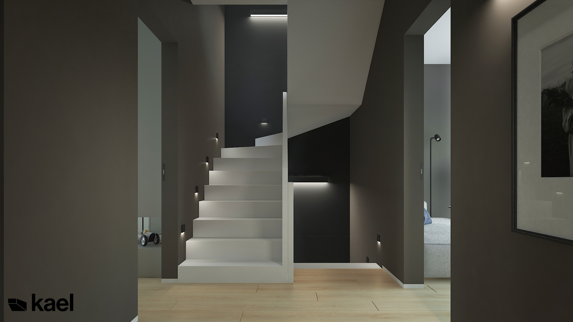 Przedpokój z białymi schodami