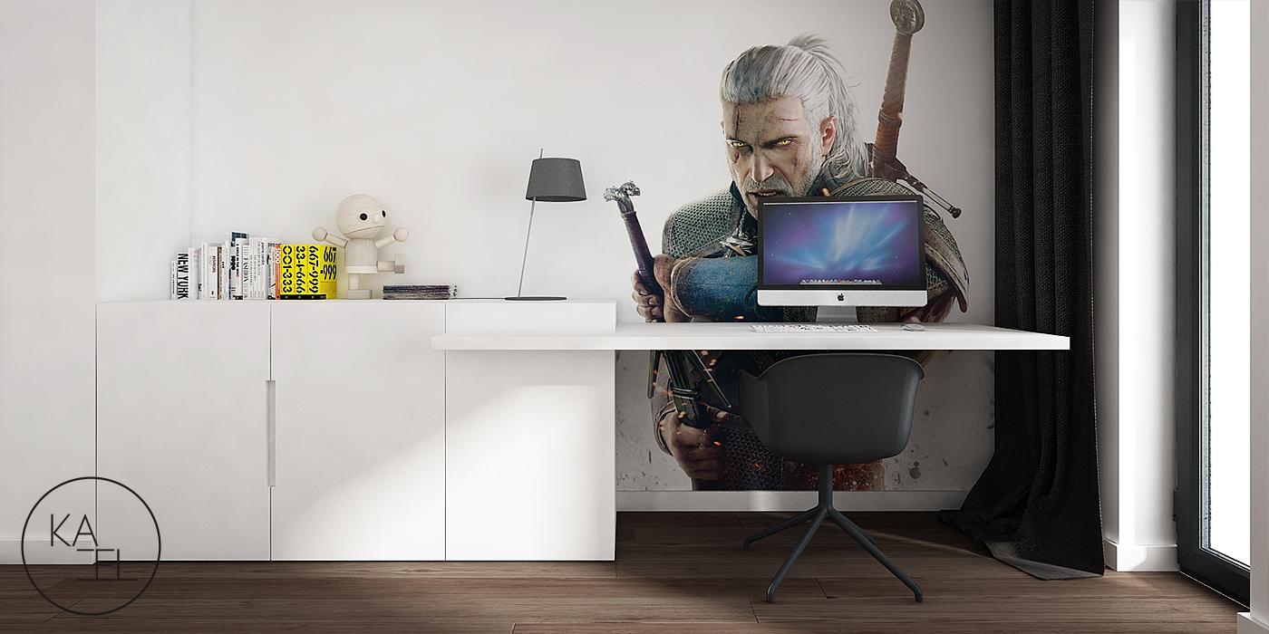 Projektowane biurko w pokoju dziecięcym