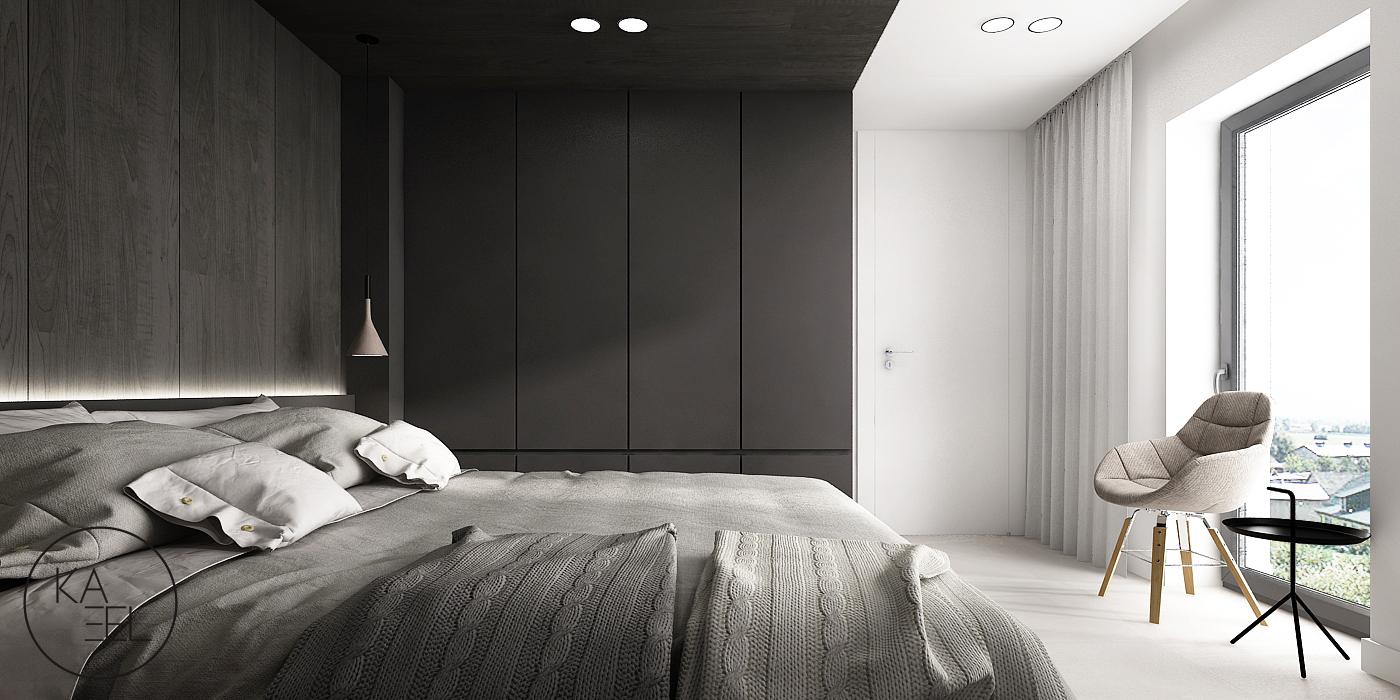 Sypialnia z ciemnym sufitem