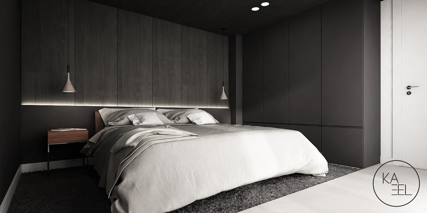 Sypialnia z okładziną ścienną