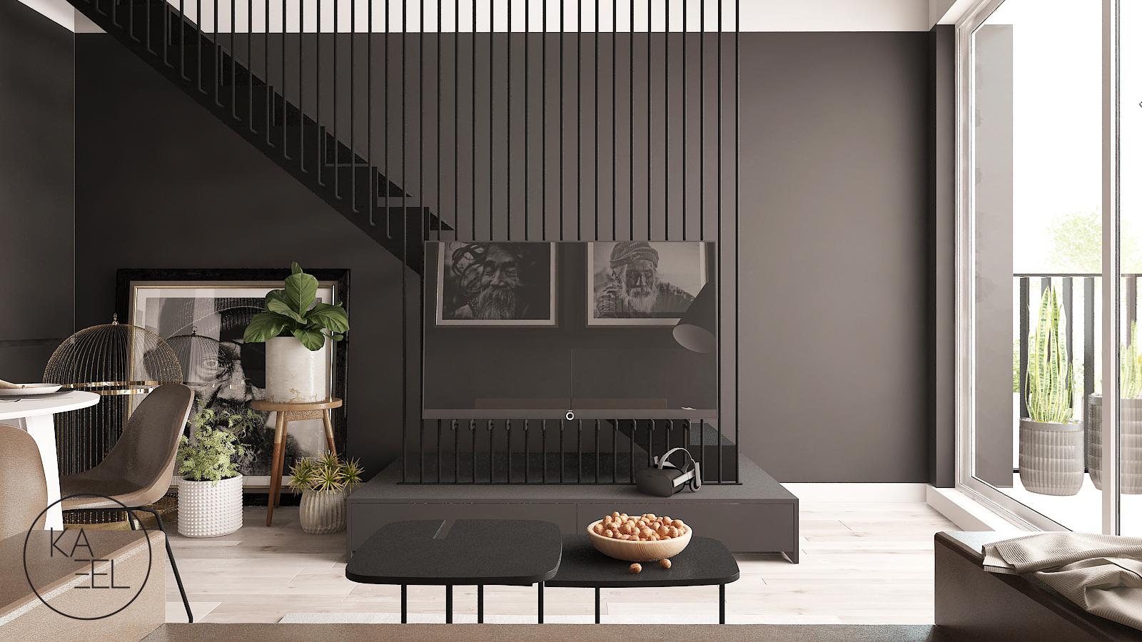 Salon ze schodami w mieszkaniu