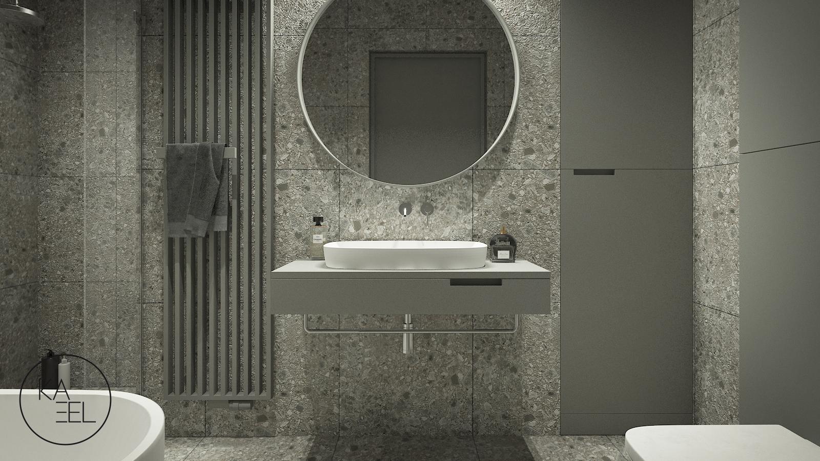 Wolnostojąca umywalka z okrągłym lustrem