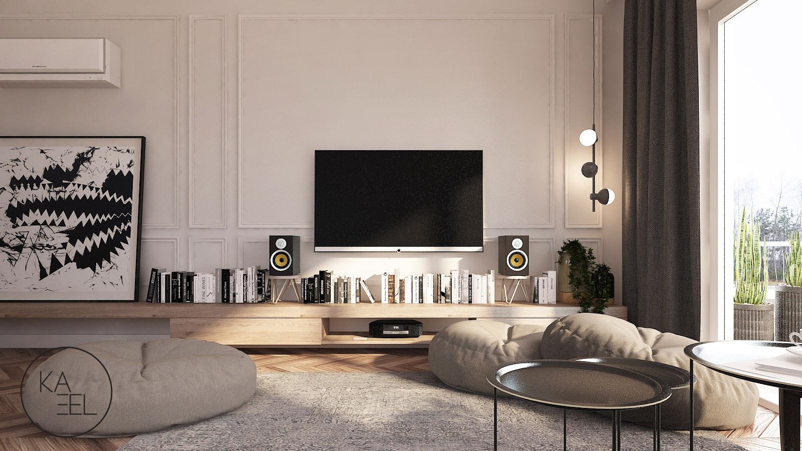 Salon z kącikiem telewizyjnym