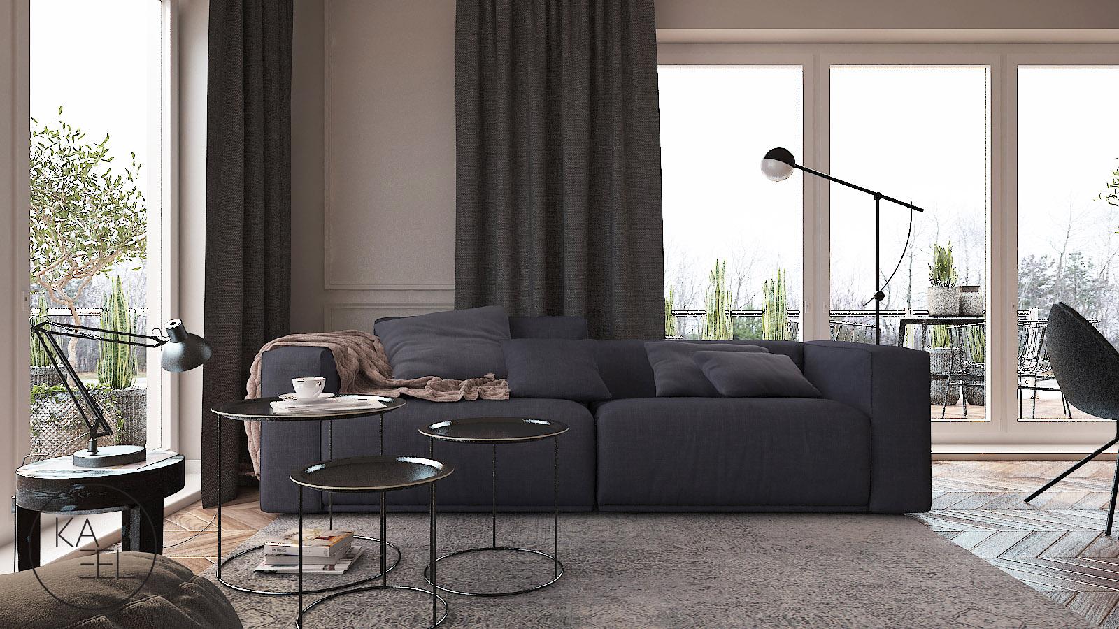 Stoliki kawowe oraz sofa
