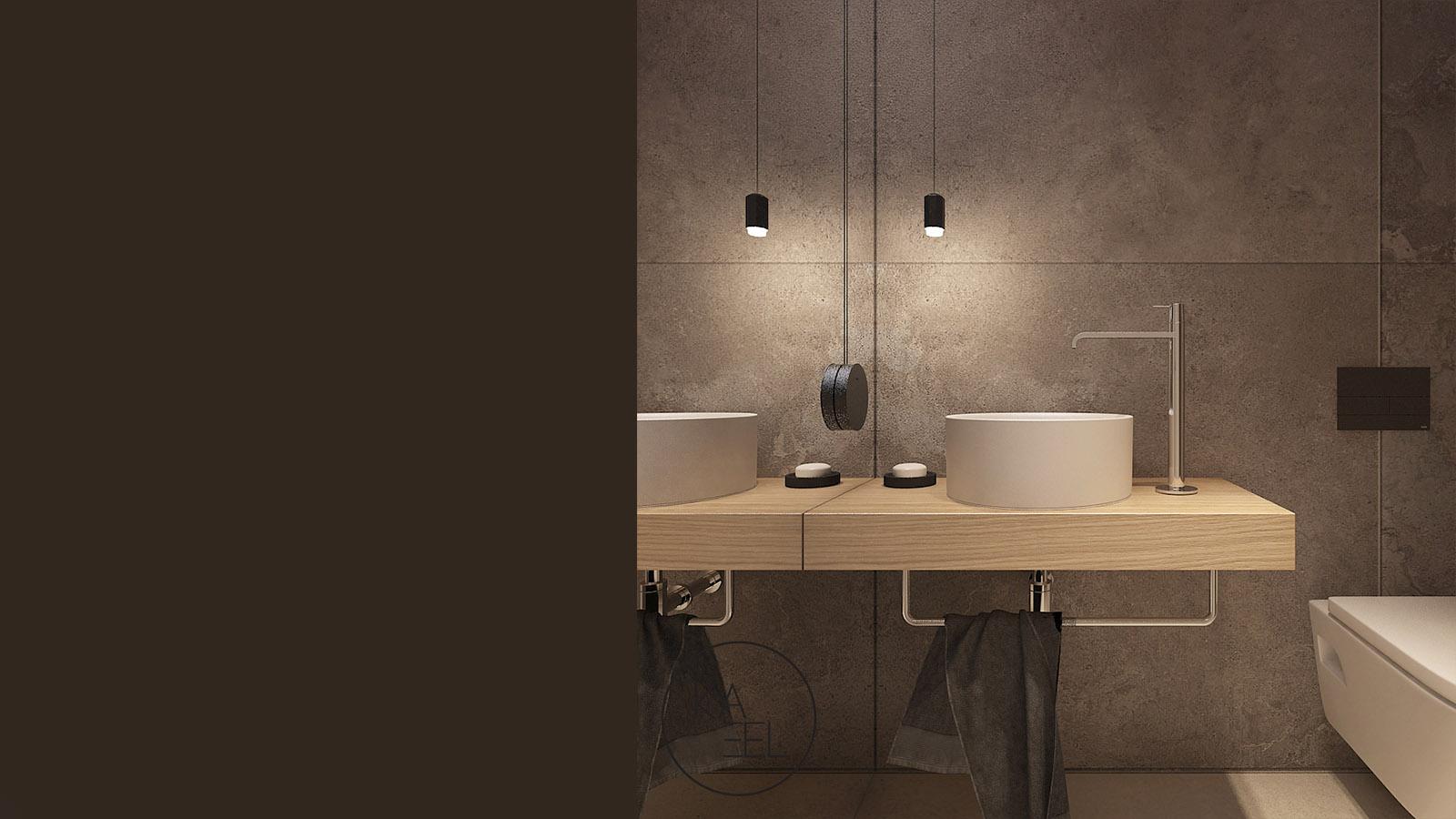 Ciemna łazienka z wolnostojącą umywalką