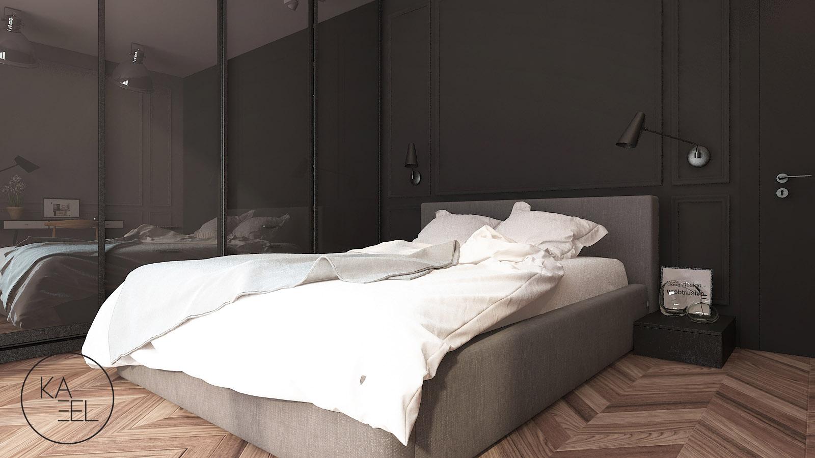 Szafa w sypialni z lustrzanymi frontami