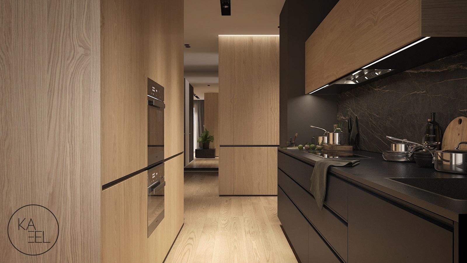 Ciemna minimalistyczna kuchnia