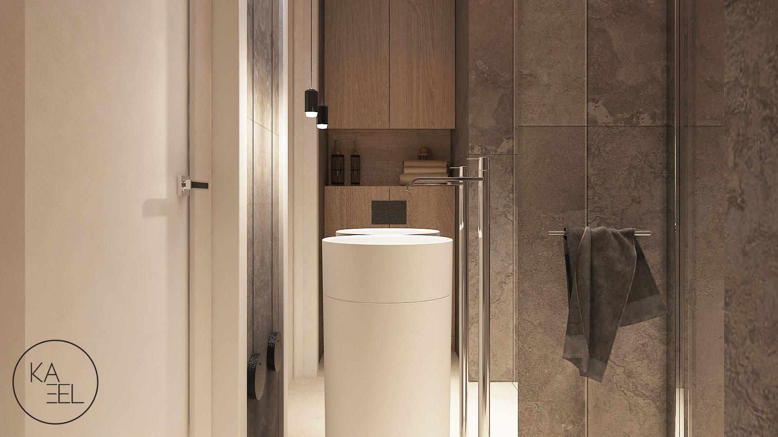 Łazienka z wolnostojącą umywalką