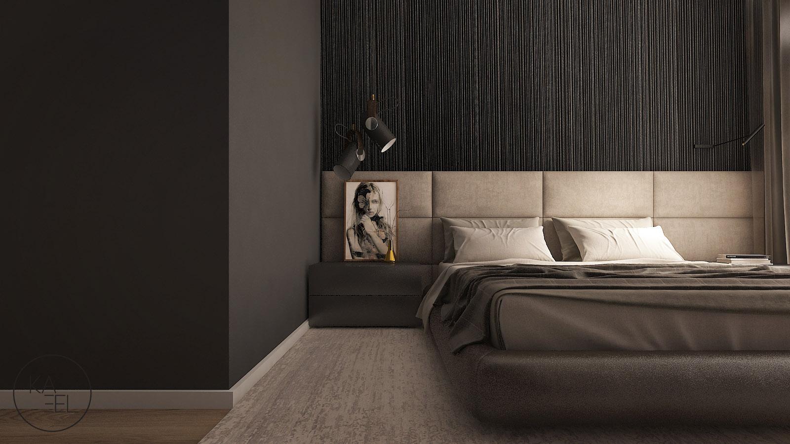 Sciana tapicerowana w sypialni