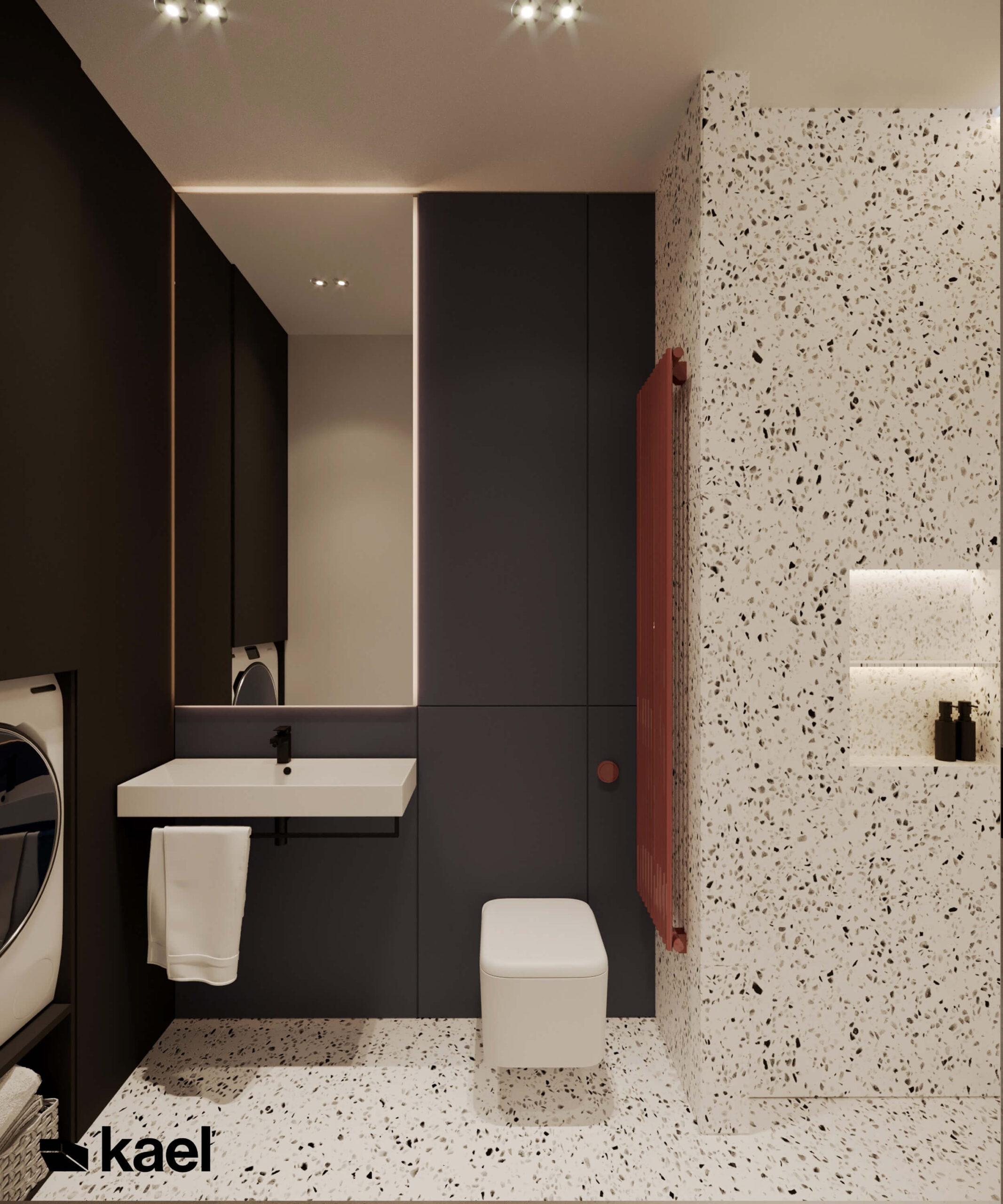 kontrastowa łazienka