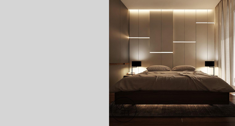 Panele swietlne w sypialni