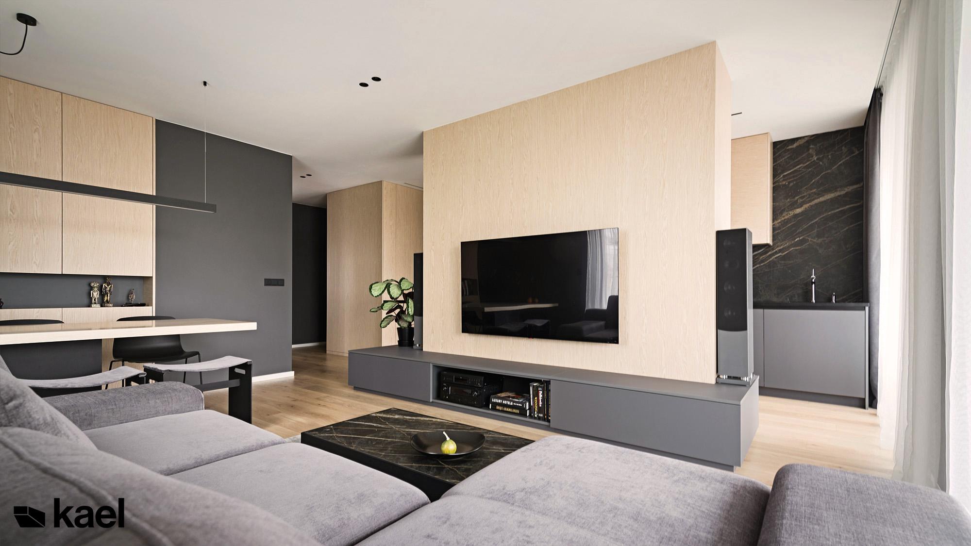 ściana telewizyjna w mieszkaniu
