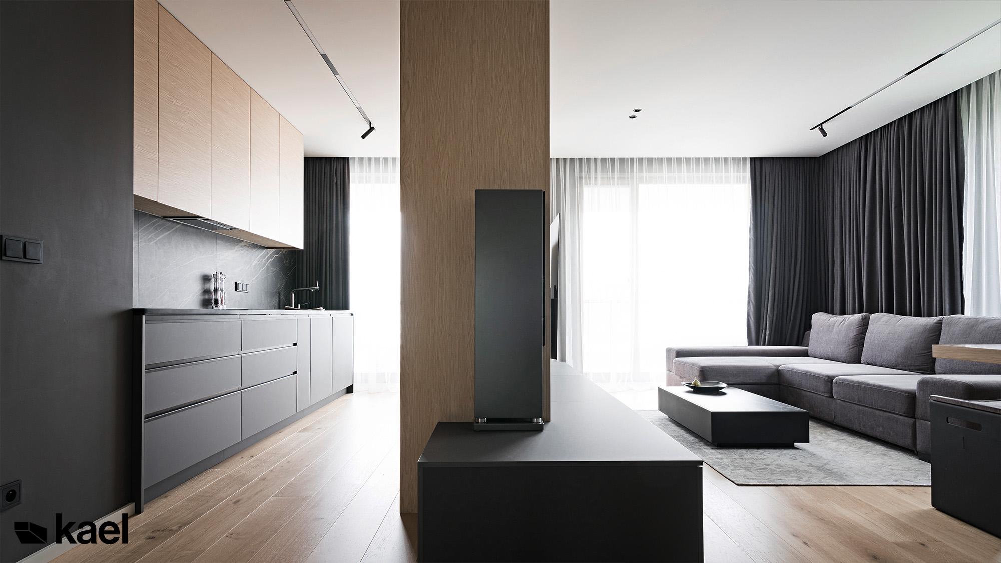 salon z kuchnią w mieszkaniu w warszawie