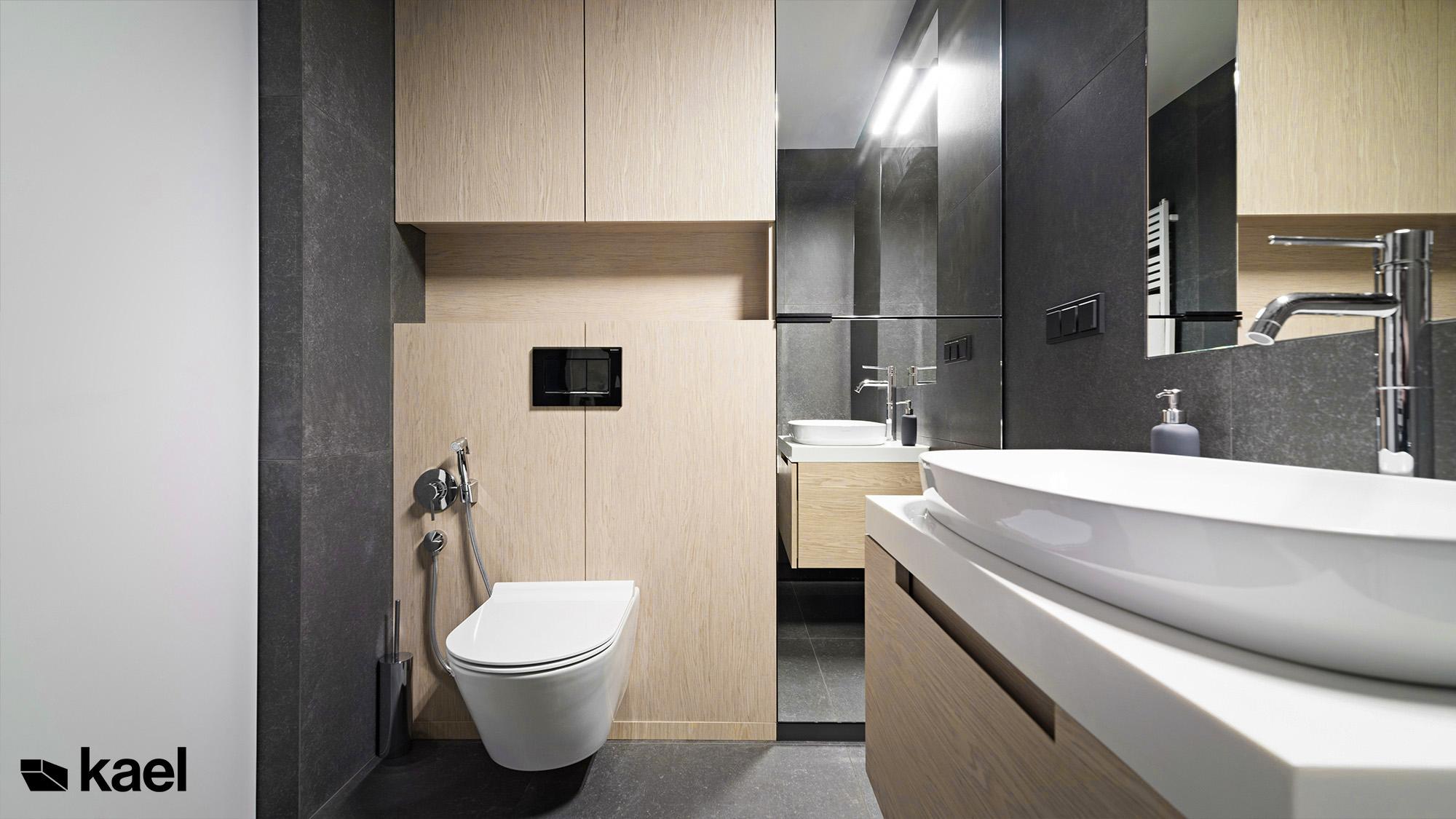 łazienka z zabudowanym geberitem