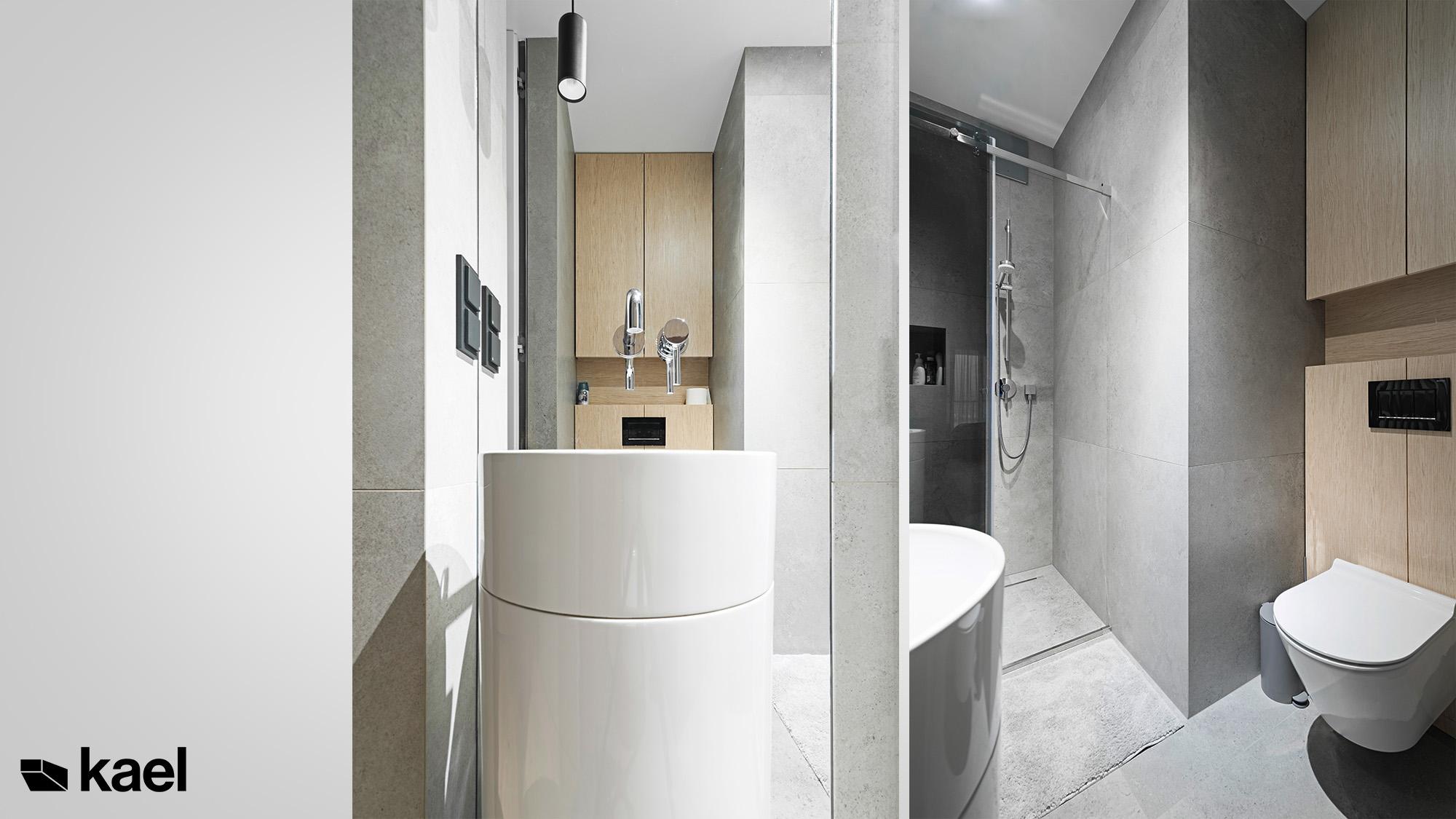 Łazienka - Mozaika - projekt apartamentu - Kael - architekt Warszawa