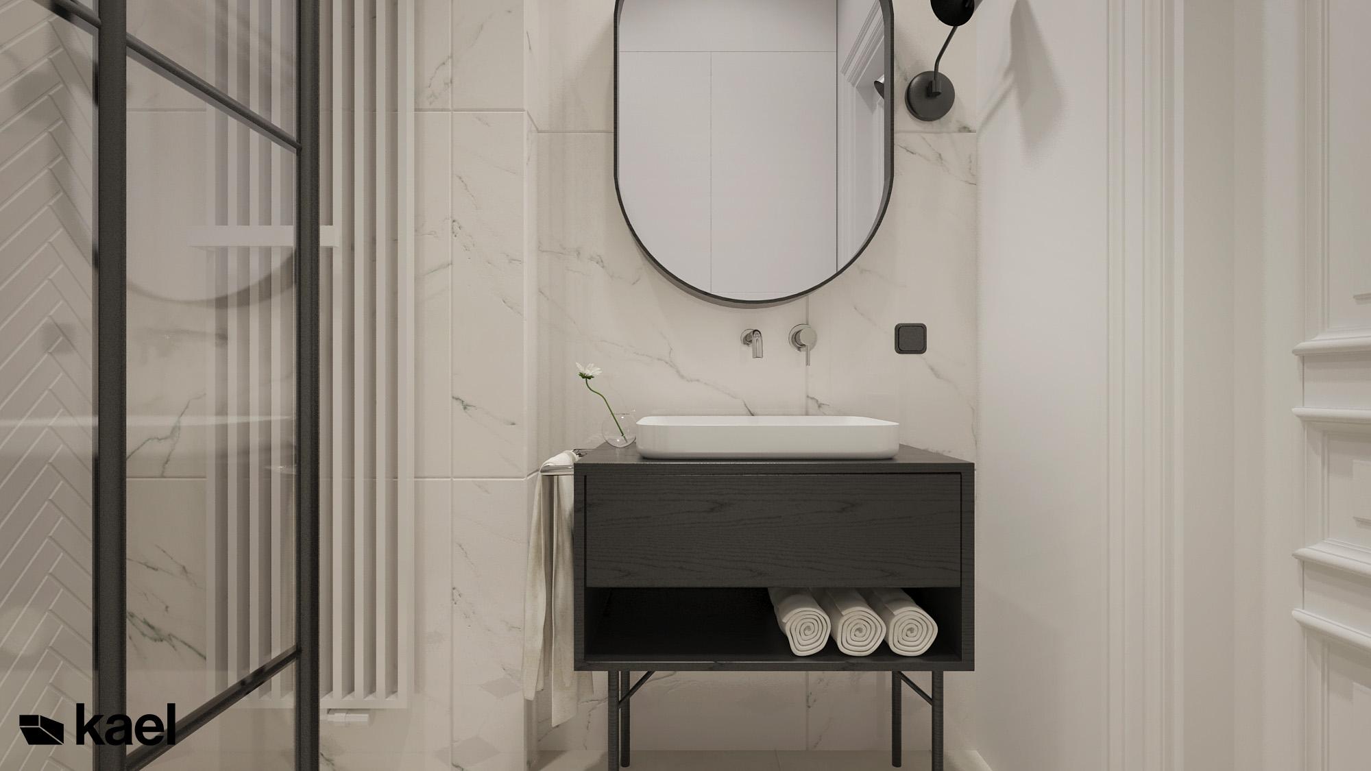 lustro z szafką w łazience