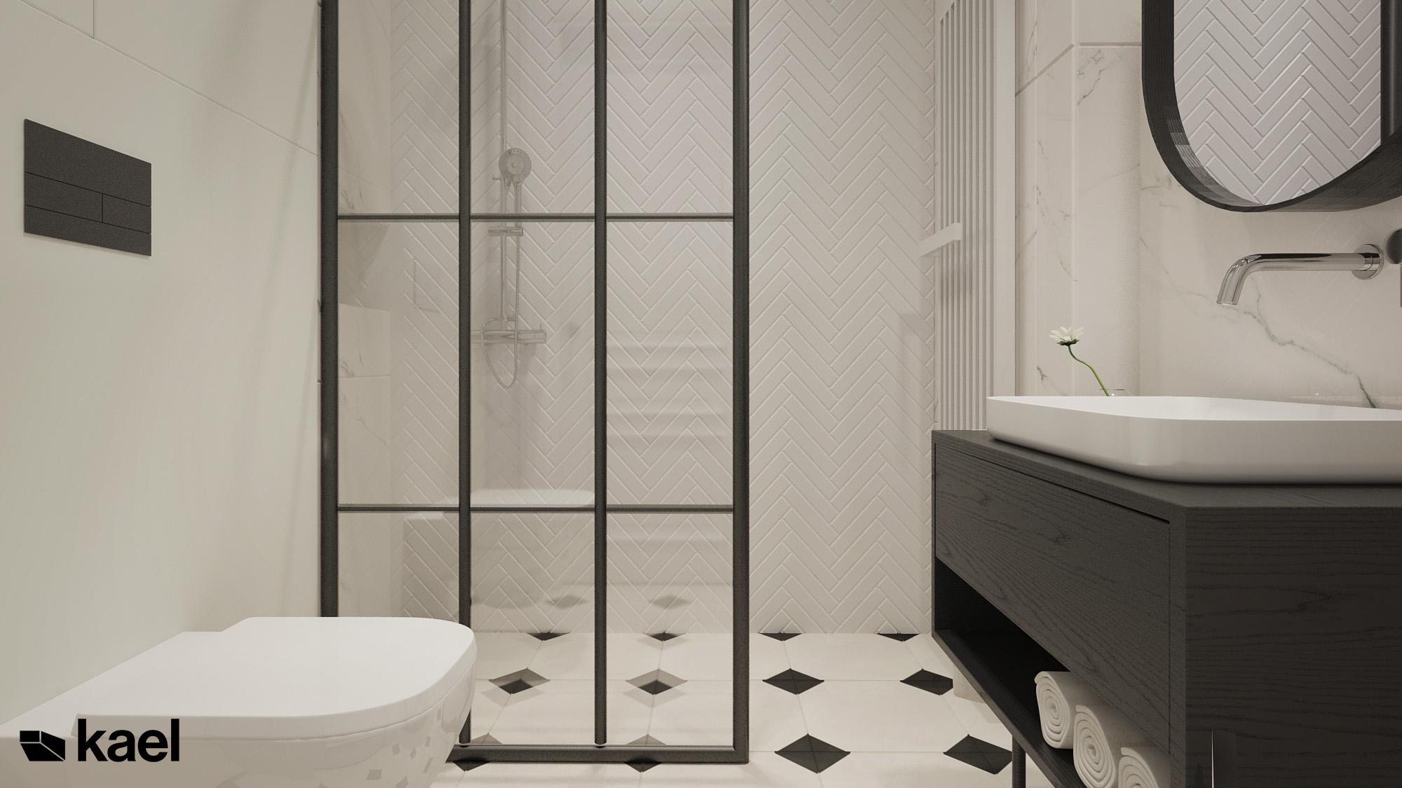 łazienka z prysznicem w kamienicy